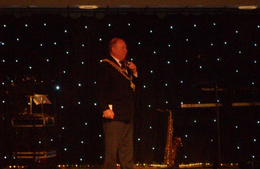 The Lord Mayor speaking on stage